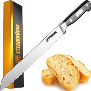 STEINBRÜCKE Serrated Bread knife 10 inch - Ultra sharp Bread Slicing Knife Forged from German Stainless Steel 5Cr15Mov, HRC58, Full Tang kitchen bread knife for Homemade, Crusty&Soft Bread